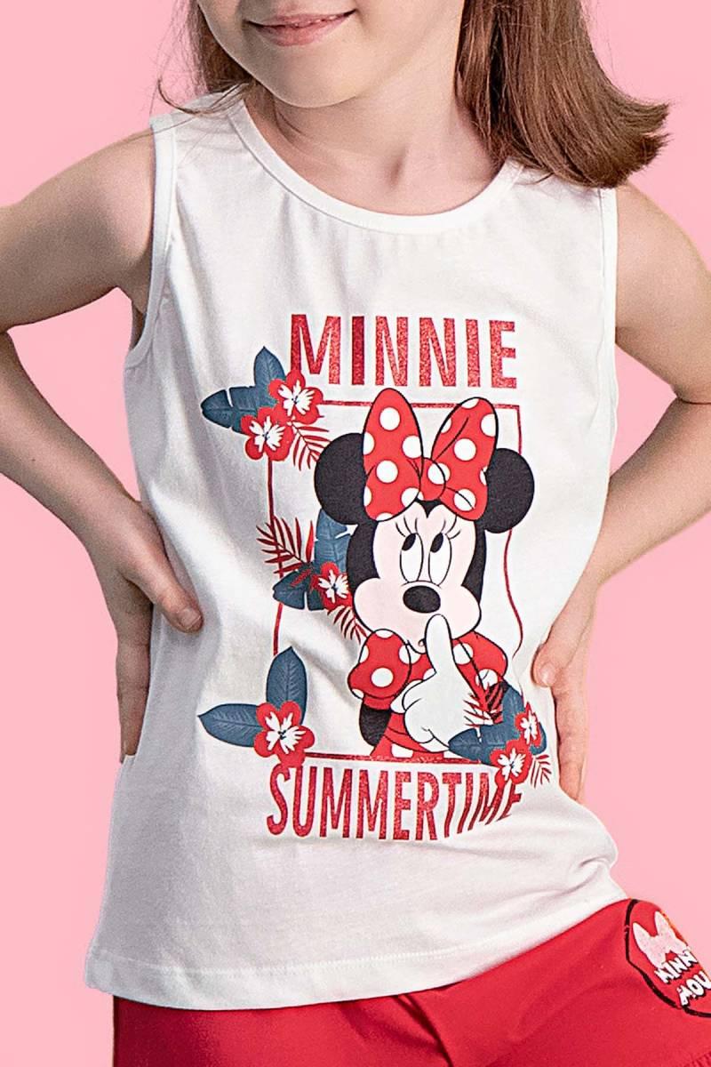 Minnie Mouse - Mickey & Minnie Mouse Lisanslı Krem Kız Çocuk Şort Takım (1)