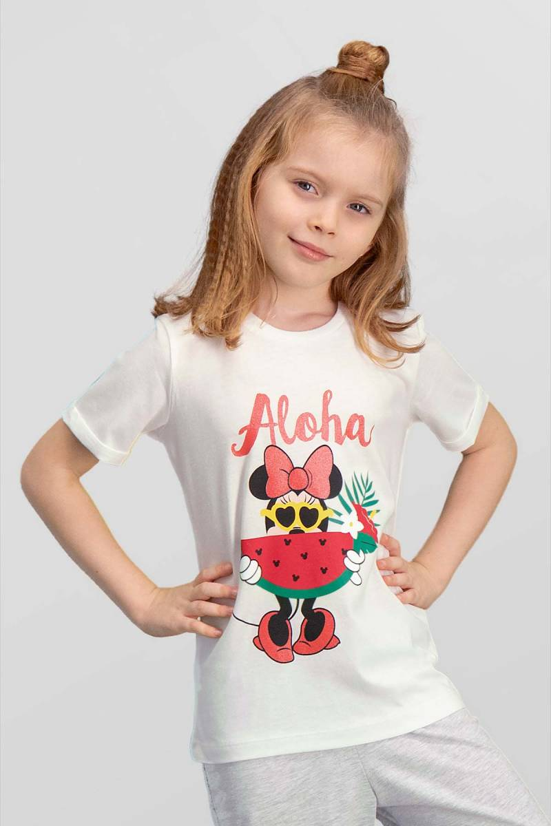 Minnie Mouse - Mickey & Minnie Mouse Lisanslı Krem Kız Çocuk T-Shirt