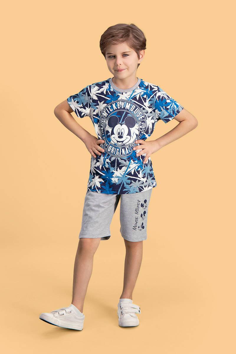 Mickey Mouse - Mickey & Minnie Mouse Lisanslı Lacivert Erkek Çocuk Bermuda Takım