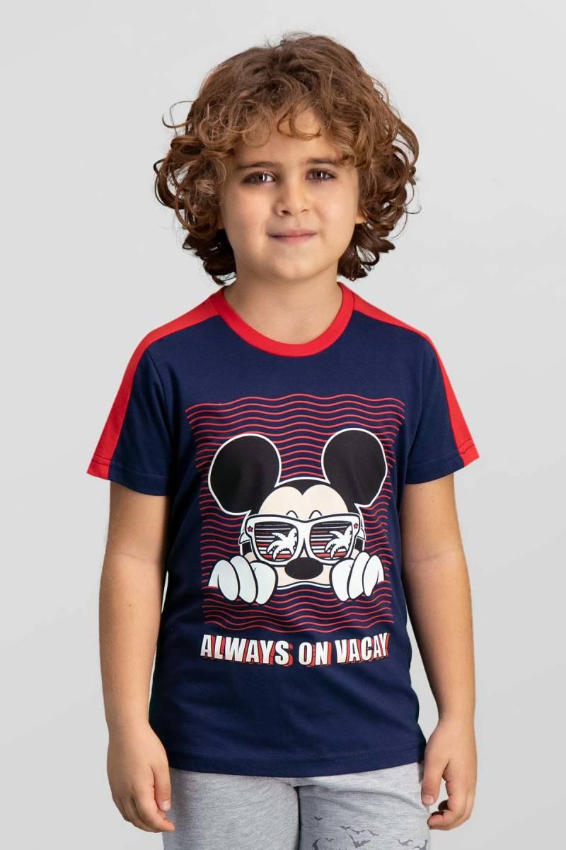 Mickey Mouse - Mickey & Minnie Mouse Lisanslı Lacivert Erkek Çocuk T-Shirt