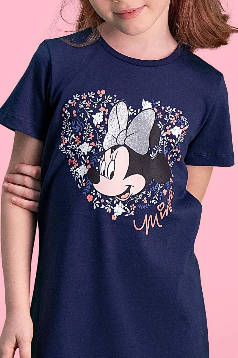 Minnie Mouse - Mickey & Minnie Mouse Lisanslı Lacivert Kız Çocuk Gecelik (1)