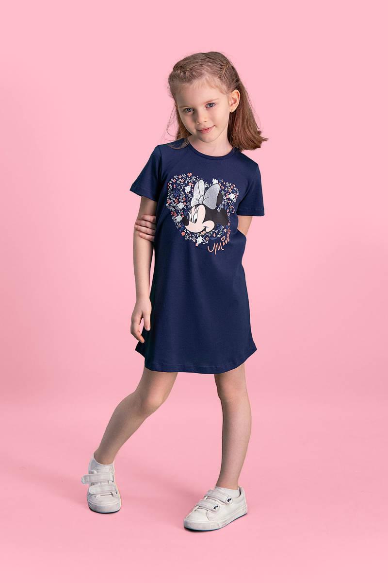 Minnie Mouse - Mickey & Minnie Mouse Lisanslı Lacivert Kız Çocuk Gecelik