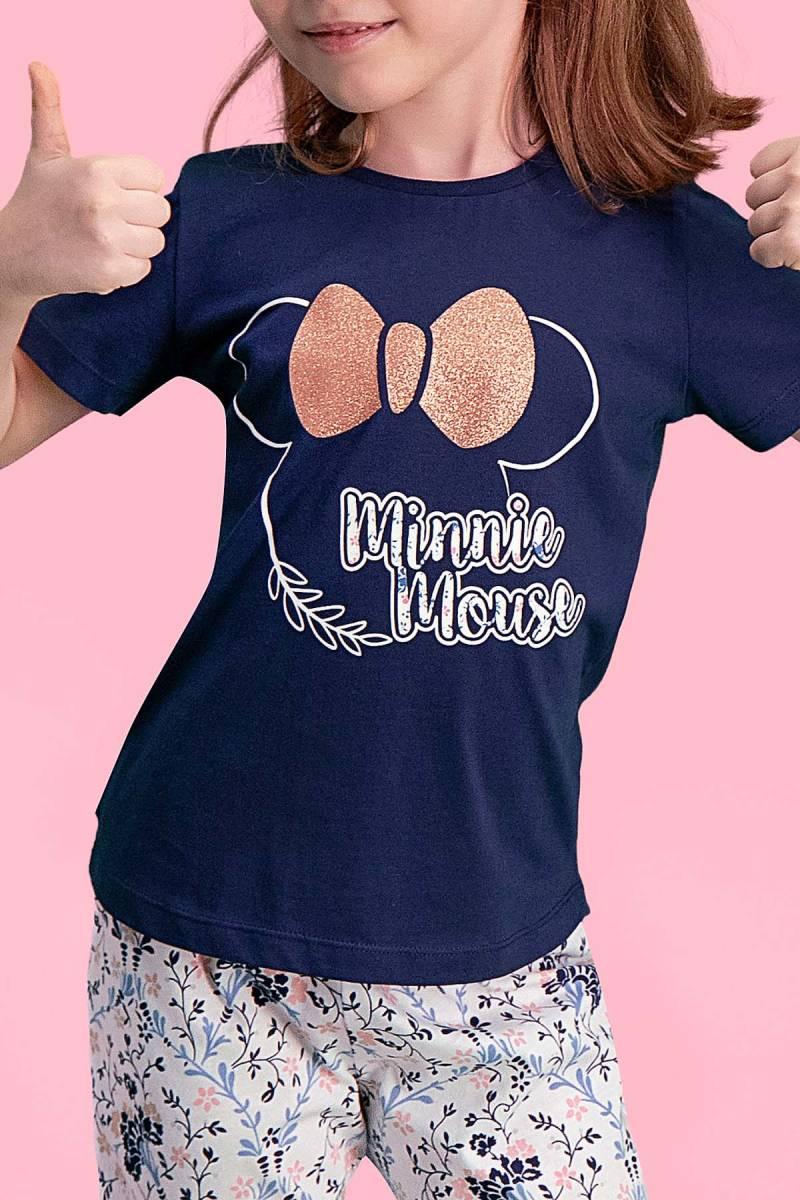 Minnie Mouse - Mickey & Minnie Mouse Lisanslı Lacivert Kız Çocuk Pijama Takımı (1)