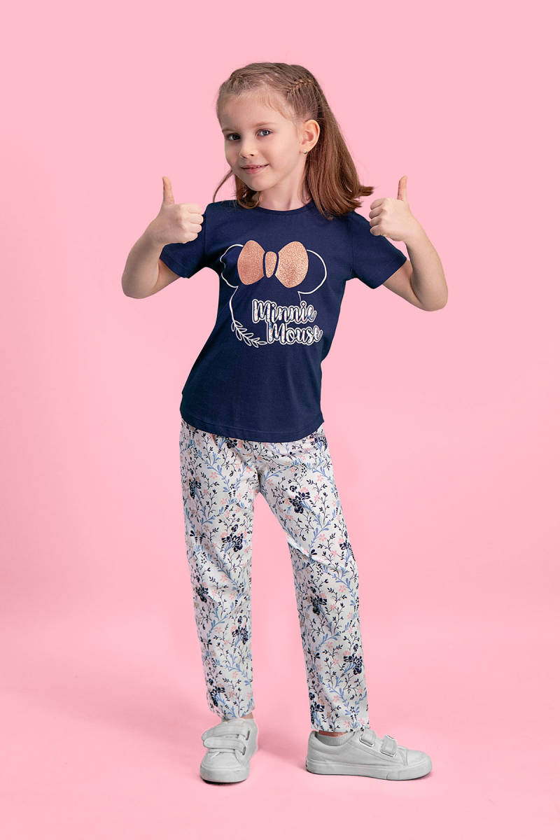 Minnie Mouse - Mickey & Minnie Mouse Lisanslı Lacivert Kız Çocuk Pijama Takımı