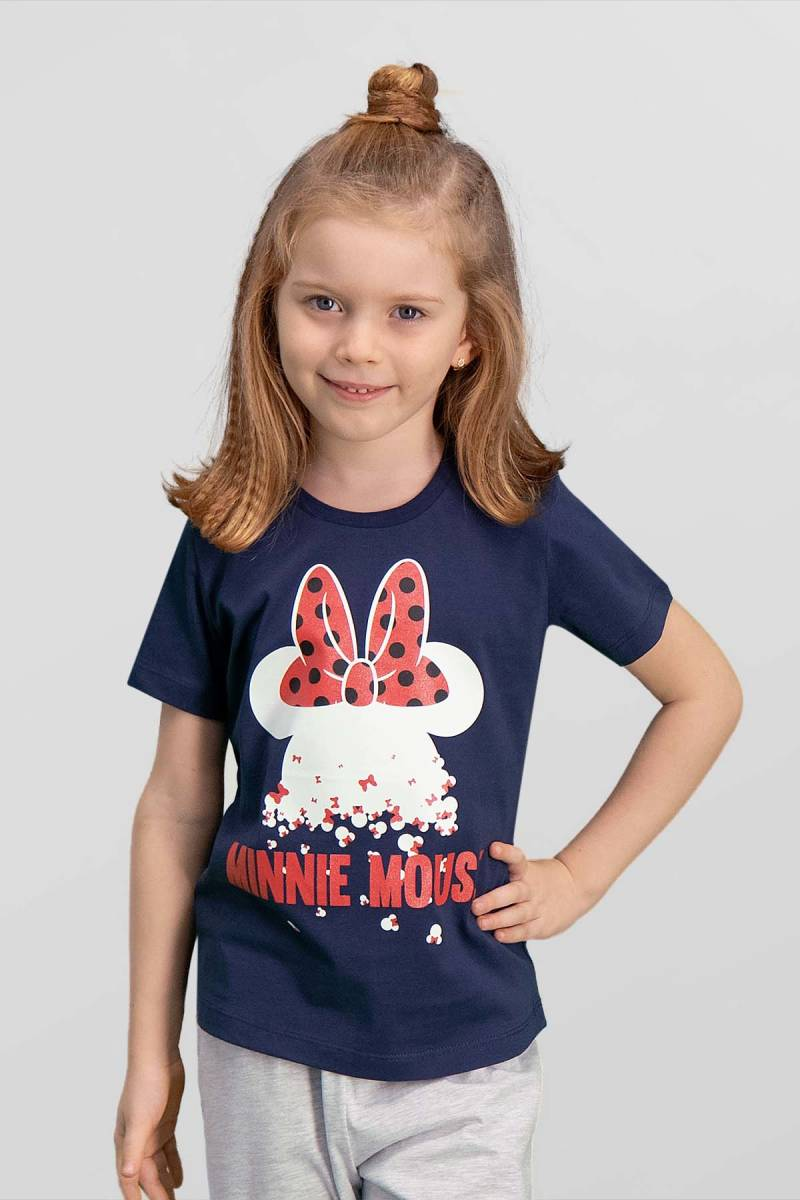 Minnie Mouse - Mickey & Minnie Mouse Lisanslı Lacivert Kız Çocuk T-Shirt