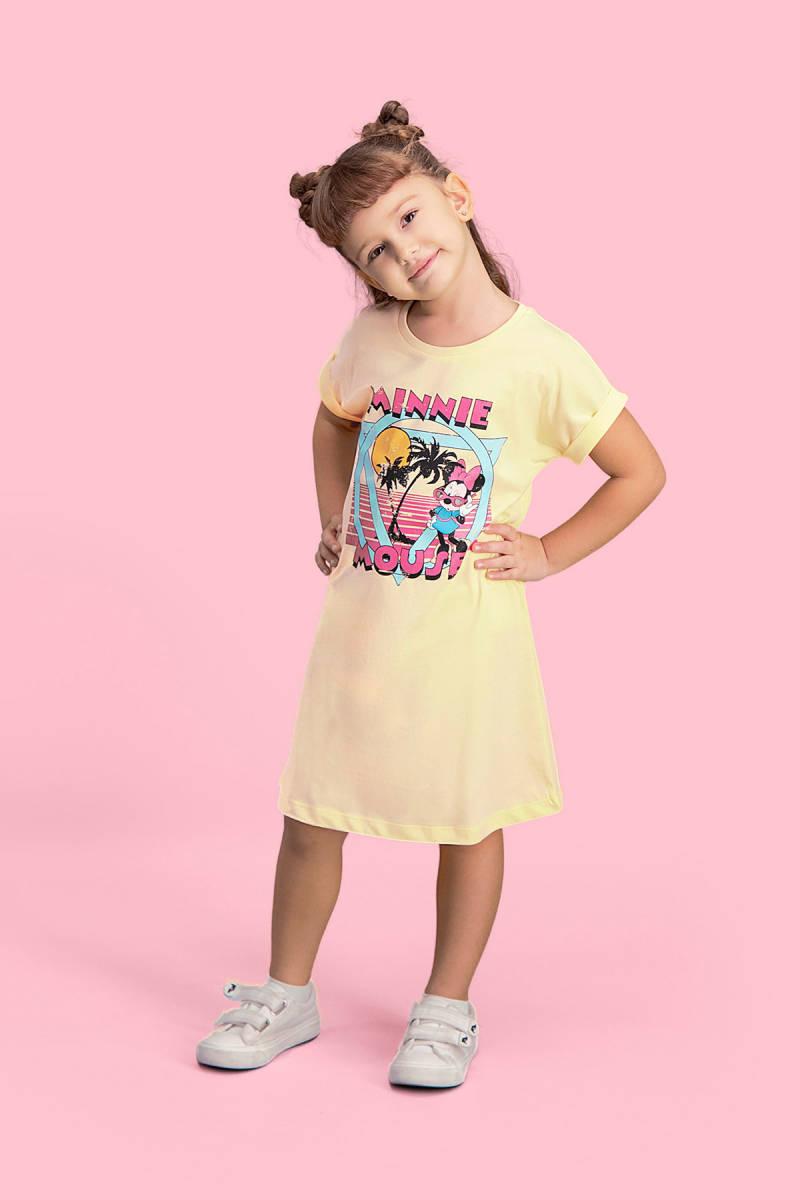 Minnie Mouse - Mickey & Minnie Mouse Lisanslı Limon Sarı Kız Çocuk Gecelik
