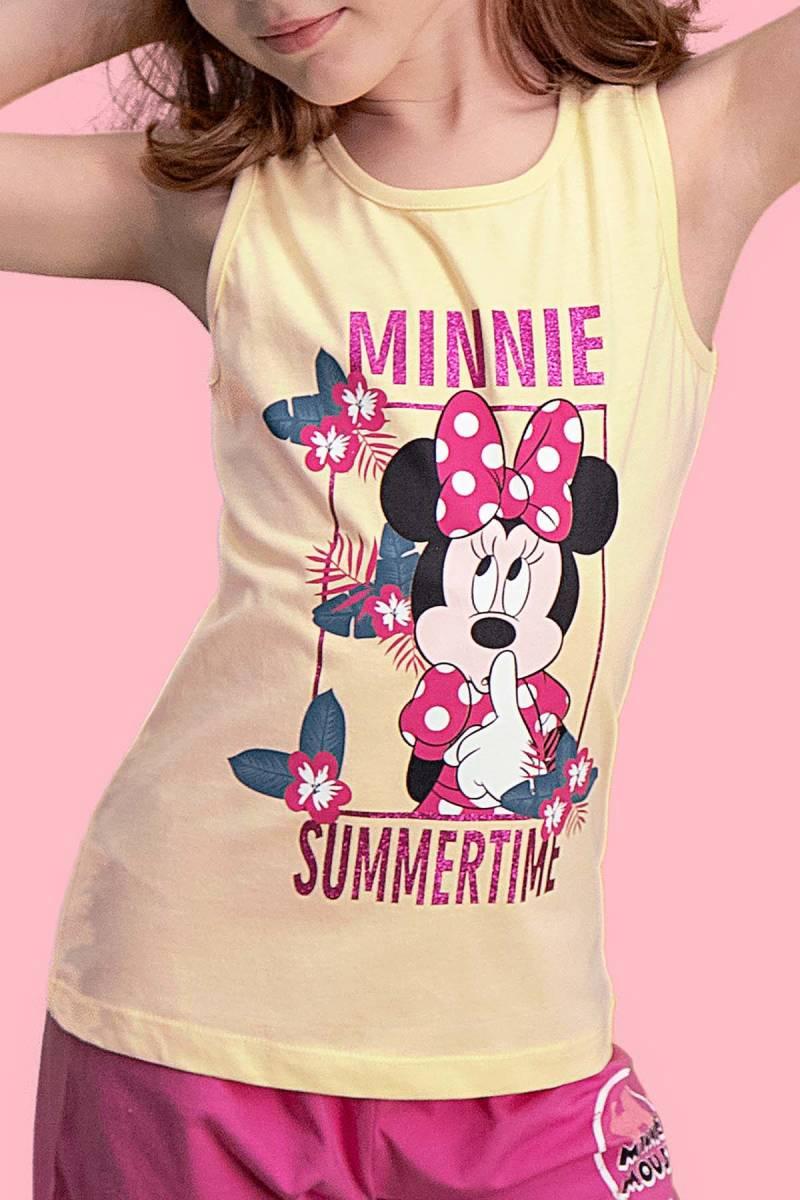 Minnie Mouse - Mickey & Minnie Mouse Lisanslı Limon Sarı Kız Çocuk Şort Takım (1)