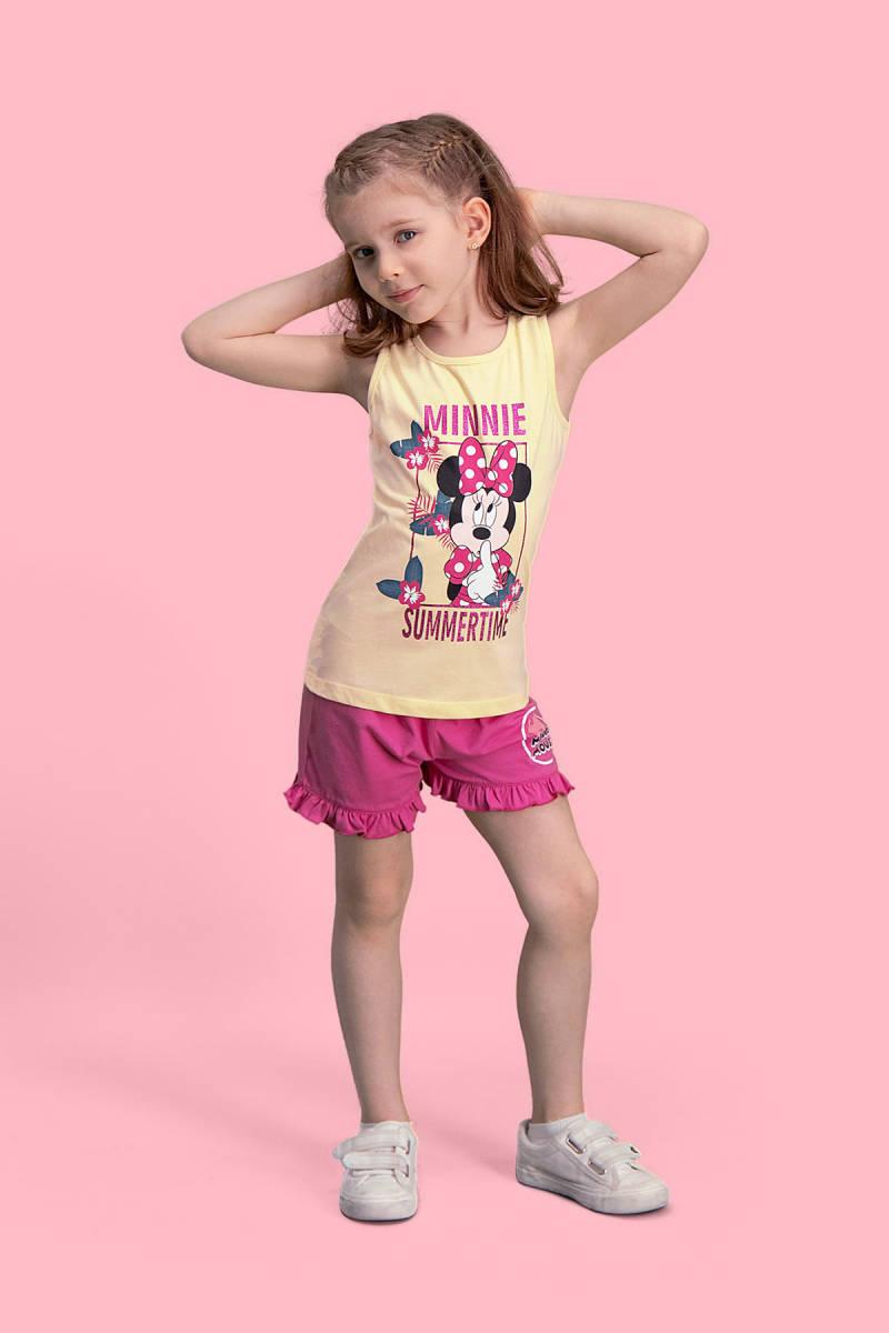 Minnie Mouse - Mickey & Minnie Mouse Lisanslı Limon Sarı Kız Çocuk Şort Takım
