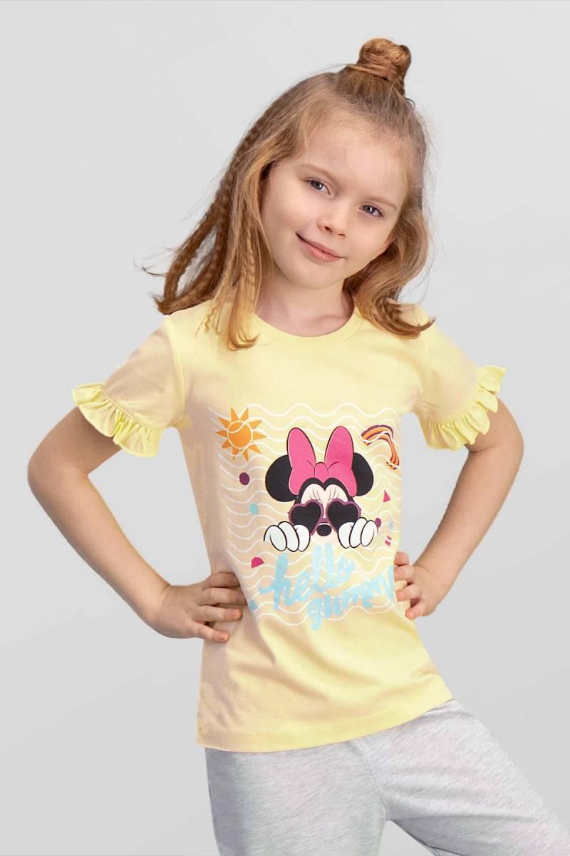 Minnie Mouse - Mickey & Minnie Mouse Lisanslı Limon Sarı Kız Çocuk T-Shirt