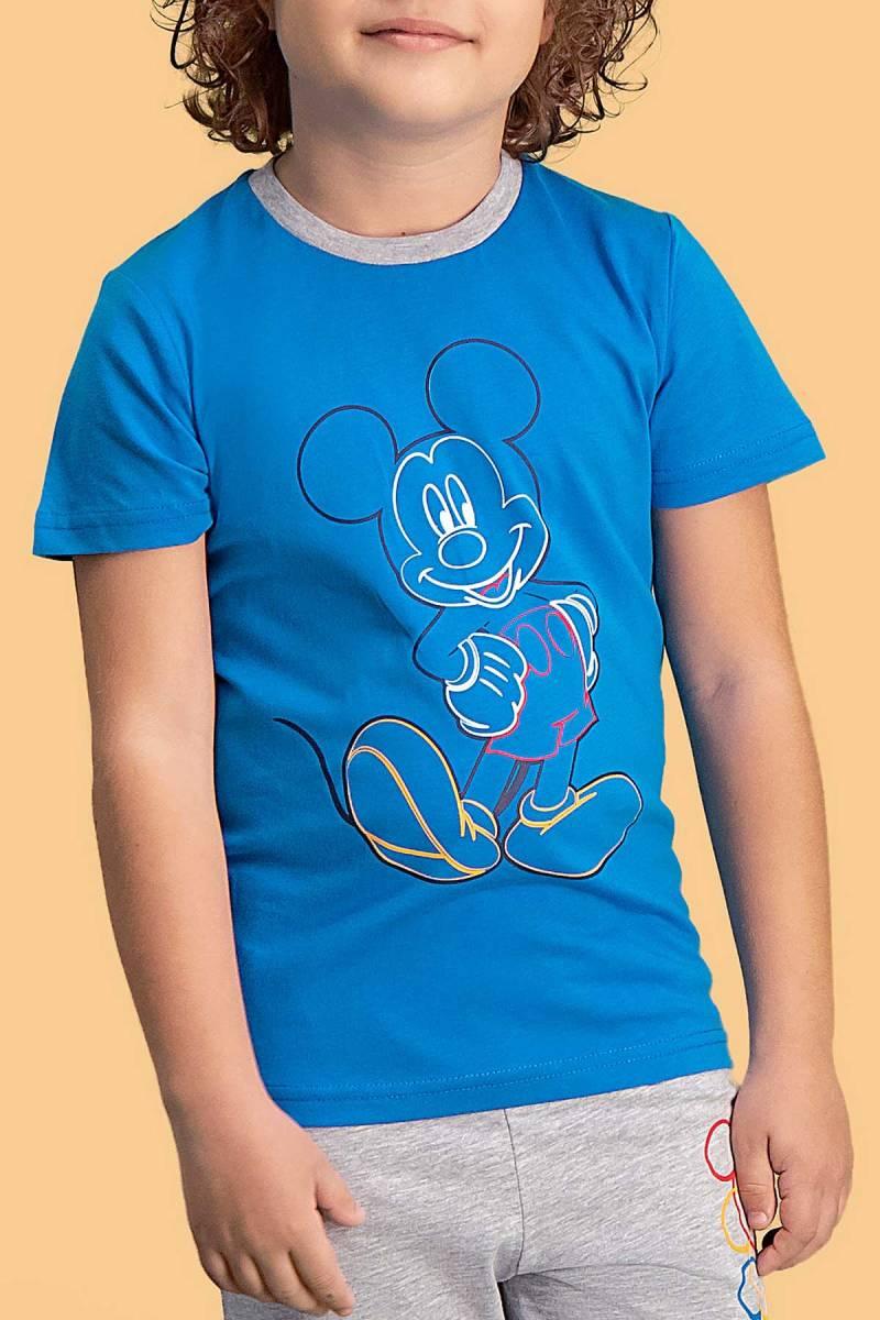 Mickey Mouse - Mickey & Minnie Mouse Lisanslı Mavi Erkek Çocuk Pijama Takımı (1)