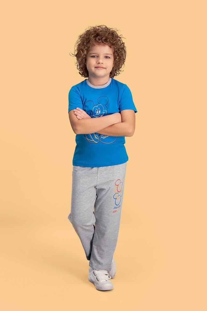 Mickey Mouse - Mickey & Minnie Mouse Lisanslı Mavi Erkek Çocuk Pijama Takımı