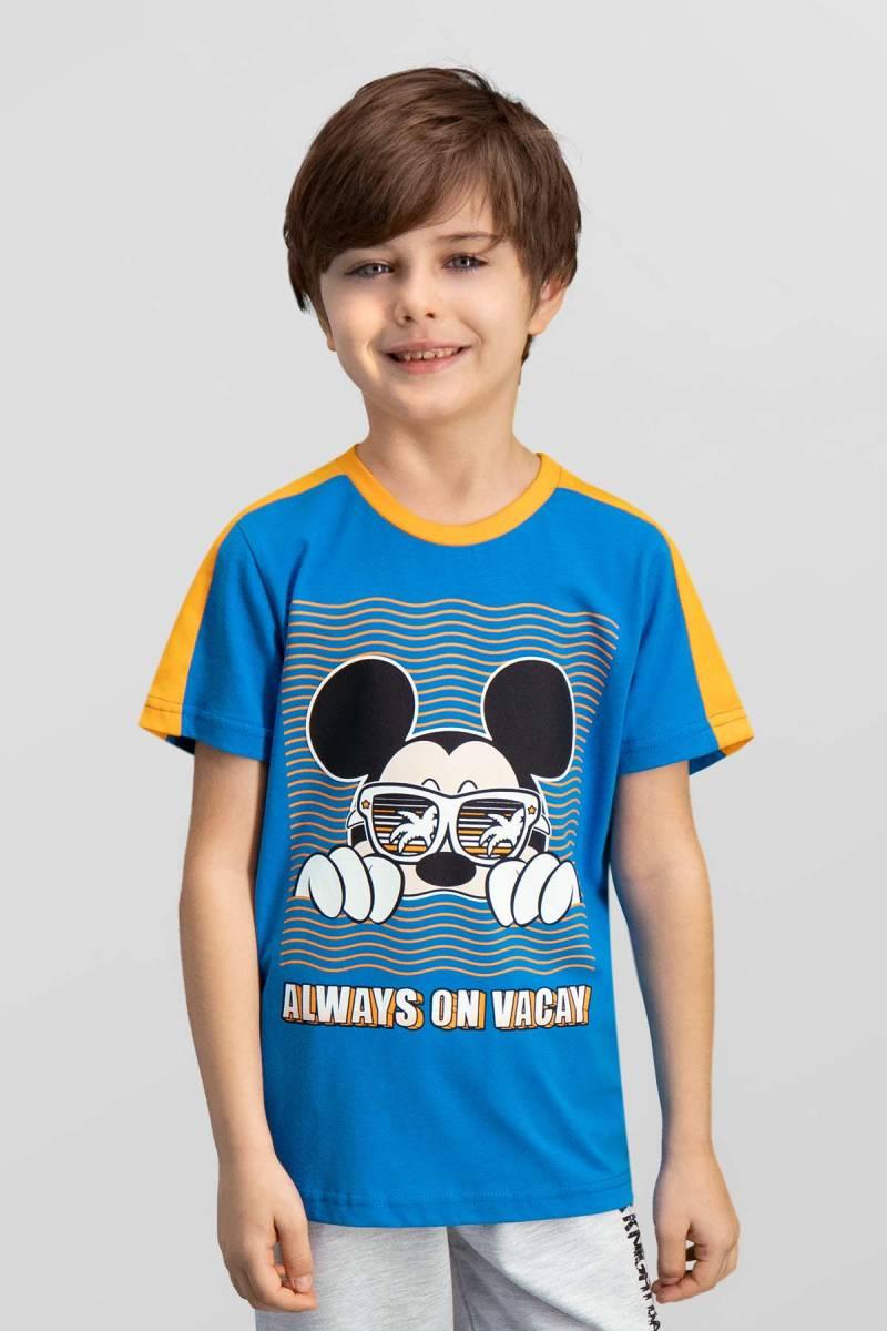 Mickey Mouse - Mickey & Minnie Mouse Lisanslı Mavi Erkek Çocuk T-Shirt