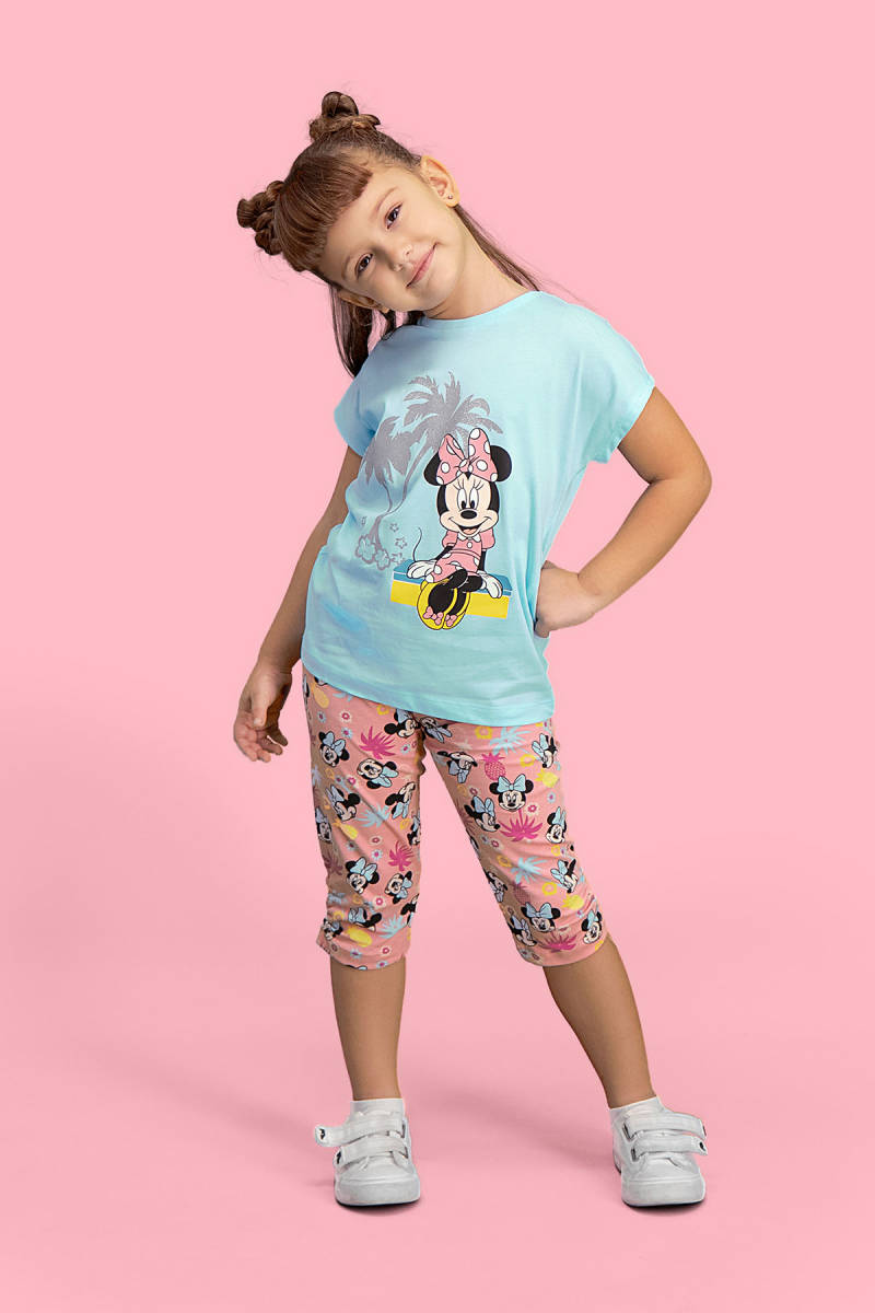 Minnie Mouse - Mickey & Minnie Mouse Lisanslı Mavi Kız Çocuk Kapri Takım