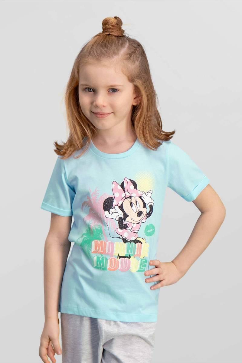 Minnie Mouse - Mickey & Minnie Mouse Lisanslı Mavi Kız Çocuk T-Shirt