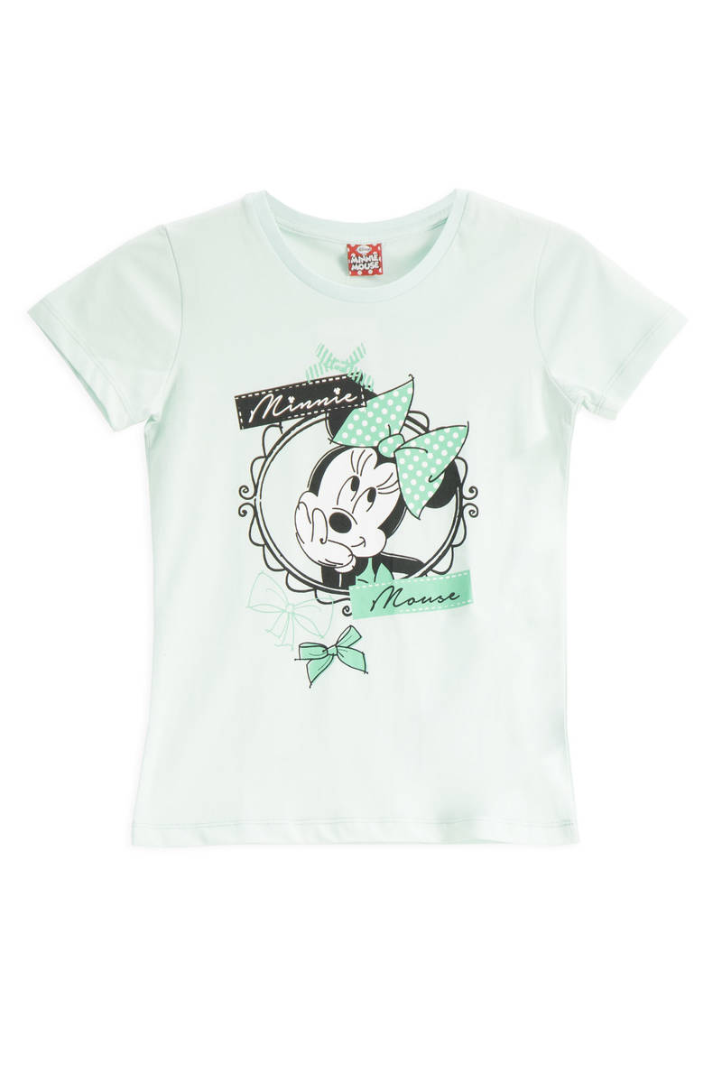 Minnie Mouse - Mickey & Minnie Mouse Lisanslı Mint Kız Çocuk T-Shirt