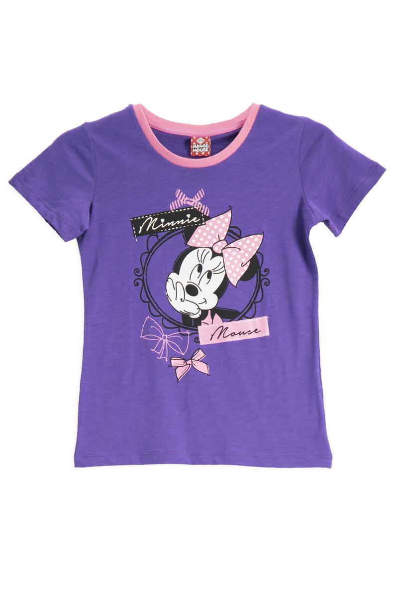 Minnie Mouse - Mickey & Minnie Mouse Lisanslı Mor Kız Çocuk T-Shirt