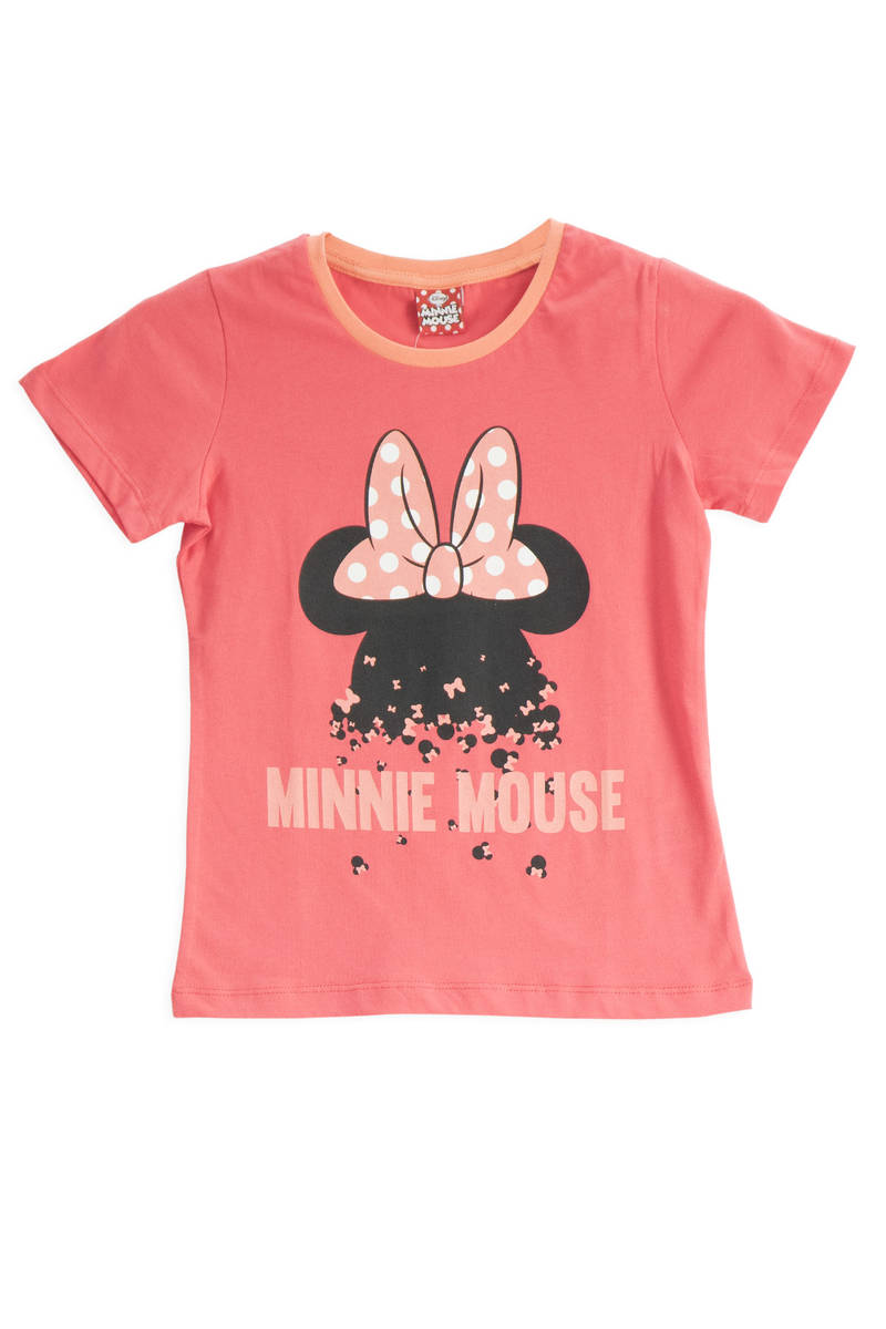 Minnie Mouse - Mickey & Minnie Mouse Lisanslı Nar Kız Çocuk T-Shirt