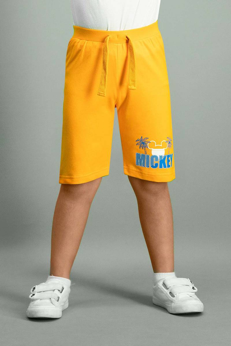 Mickey Mouse - Mickey & Minnie Mouse Lisanslı Oranj Erkek Çocuk Bermuda