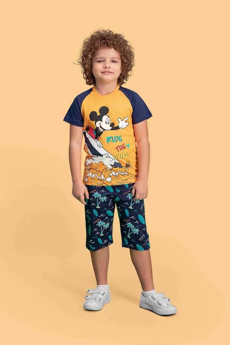 Mickey Mouse - Mickey & Minnie Mouse Lisanslı Oranj Erkek Çocuk Kapri Takım