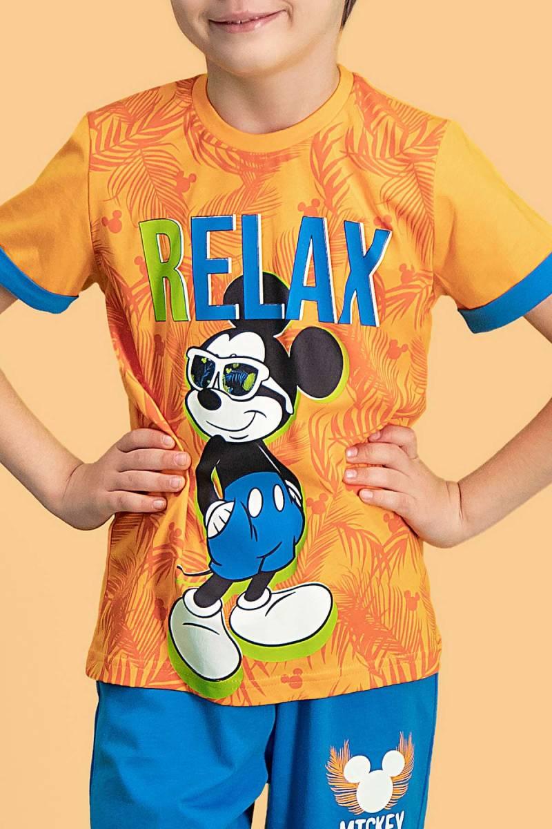 Mickey Mouse - Mickey & Minnie Mouse Lisanslı Oranj Erkek Çocuk Kapri Takım (1)