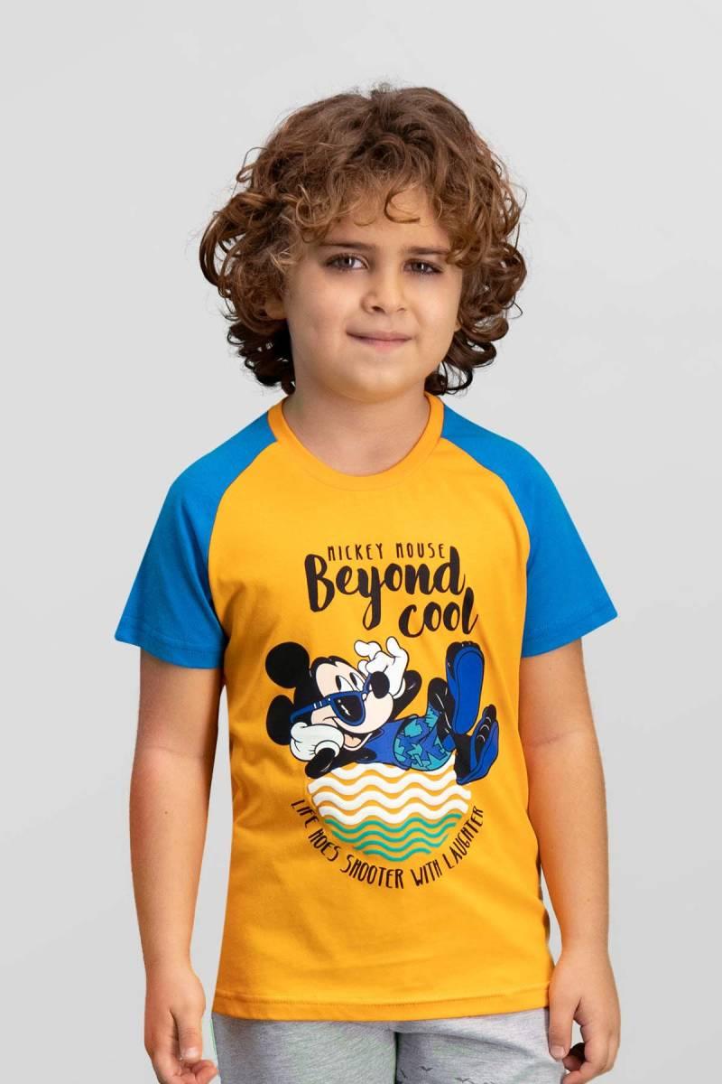 Mickey Mouse - Mickey & Minnie Mouse Lisanslı Oranj Erkek Çocuk T-Shirt