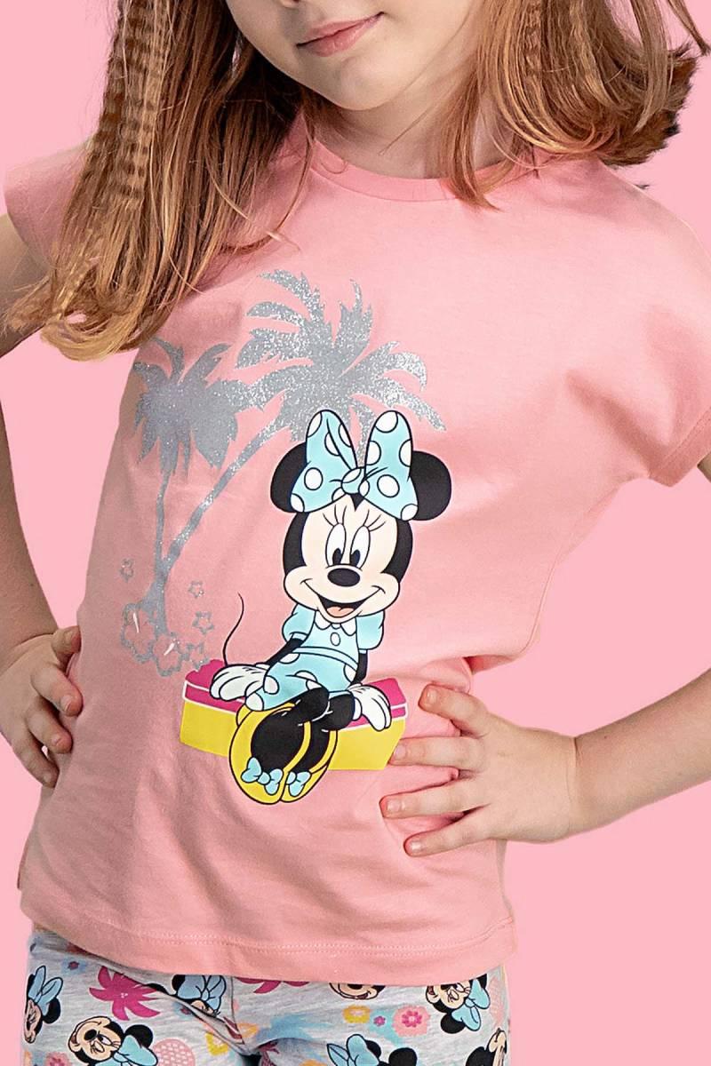 Minnie Mouse - Mickey & Minnie Mouse Lisanslı Pembe Kız Çocuk Kapri Takım (1)