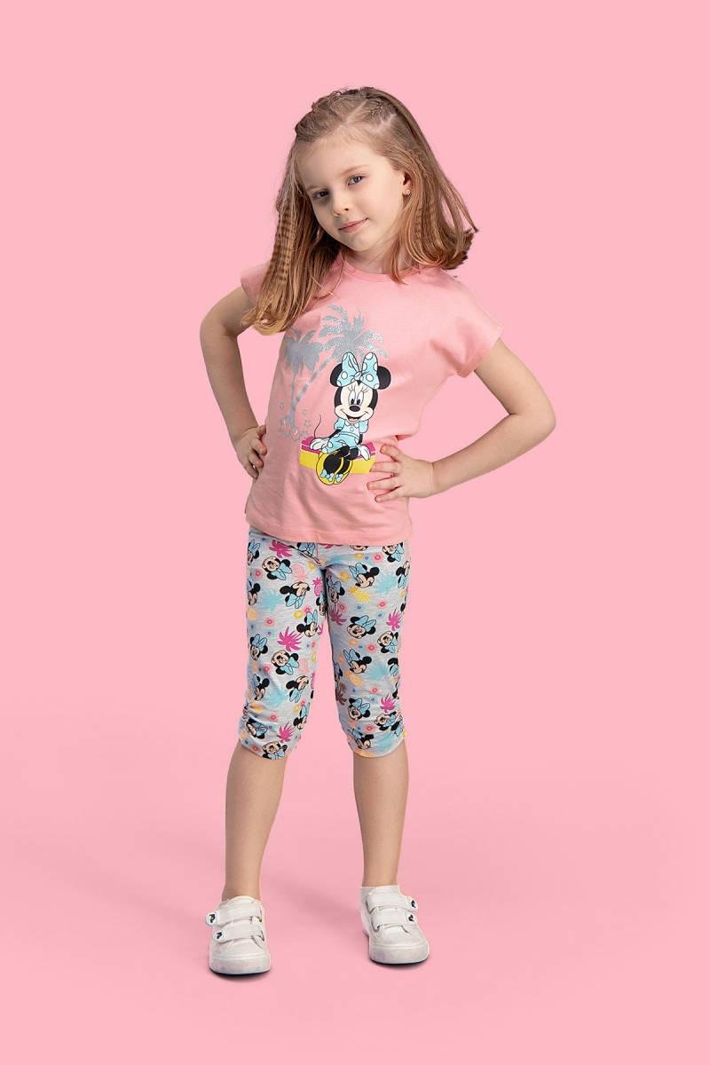 Minnie Mouse - Mickey & Minnie Mouse Lisanslı Pembe Kız Çocuk Kapri Takım