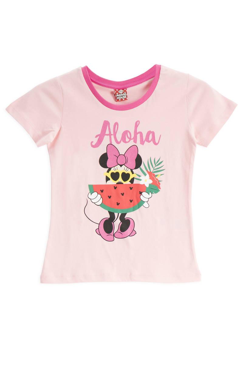 Minnie Mouse - Mickey & Minnie Mouse Lisanslı Pembe Kız Çocuk T-Shirt