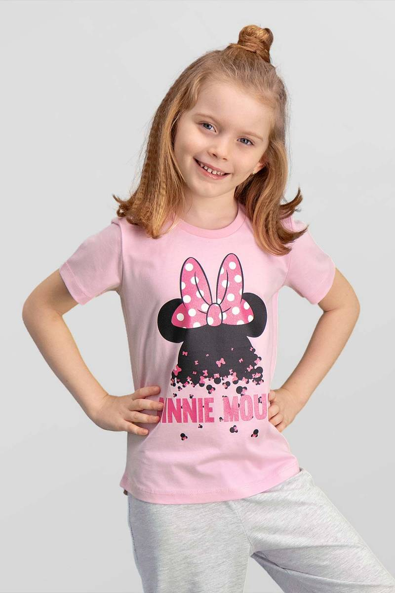 Minnie Mouse - Mickey & Minnie Mouse Lisanslı Pembe Kız Çocuk T-Shirt