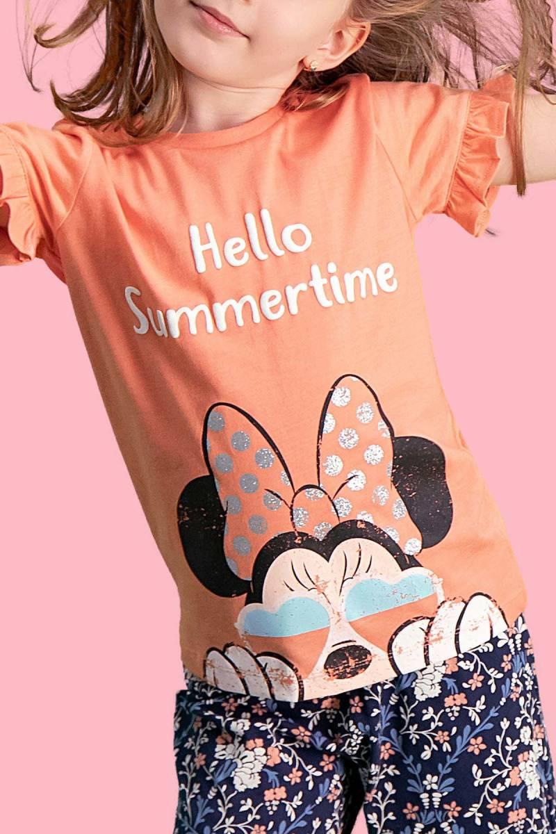 Minnie Mouse - Mickey & Minnie Mouse Lisanslı Yavruağzı Kız Çocuk Kapri Takım