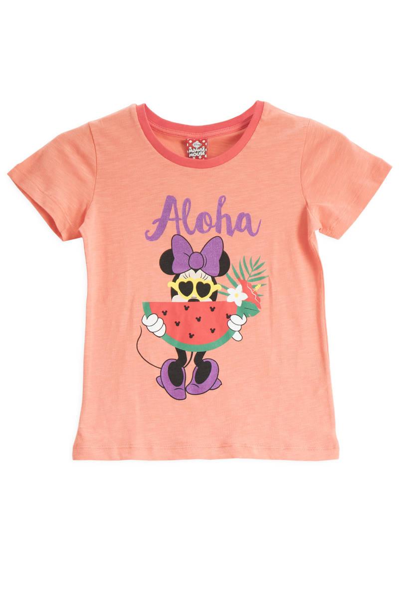 Minnie Mouse - Mickey & Minnie Mouse Lisanslı Yavruağzı Kız Çocuk T-Shirt