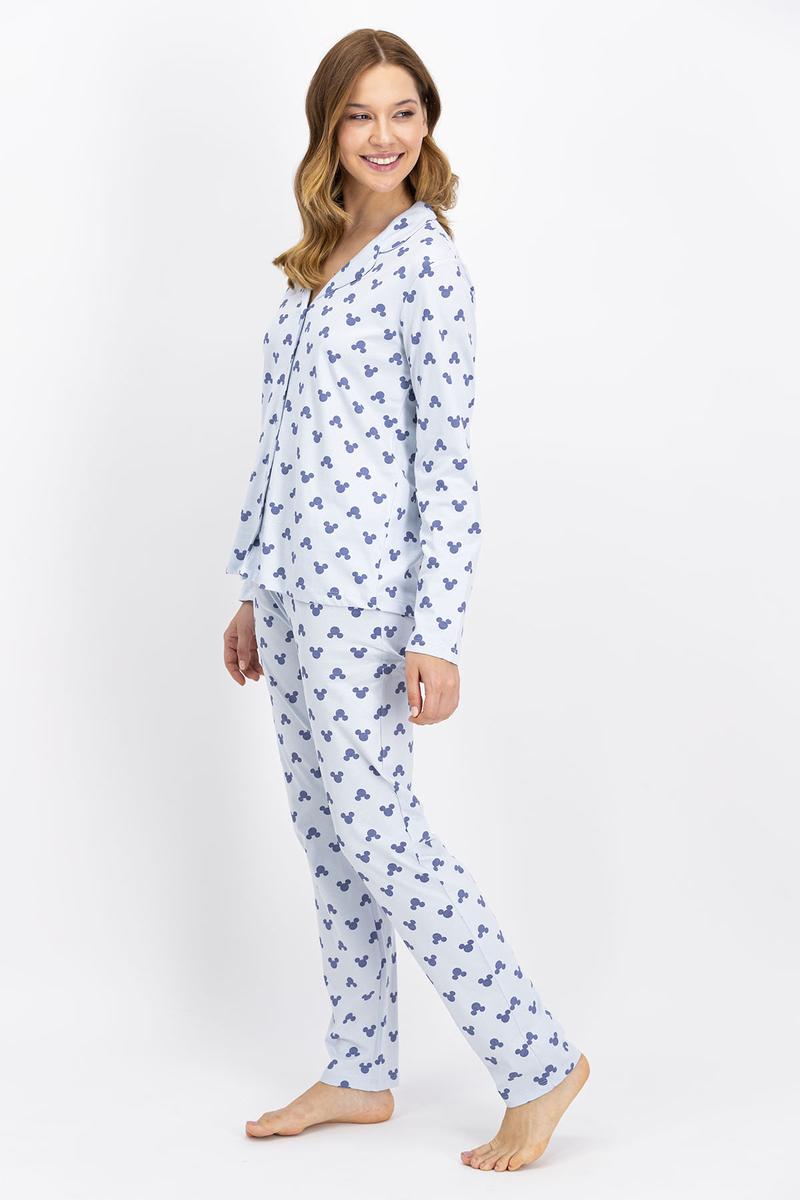 Mickey Mouse - Mickey Mouse Lisanslı Mavi Düğmeli Kadın Gömlek Pijama Takımı