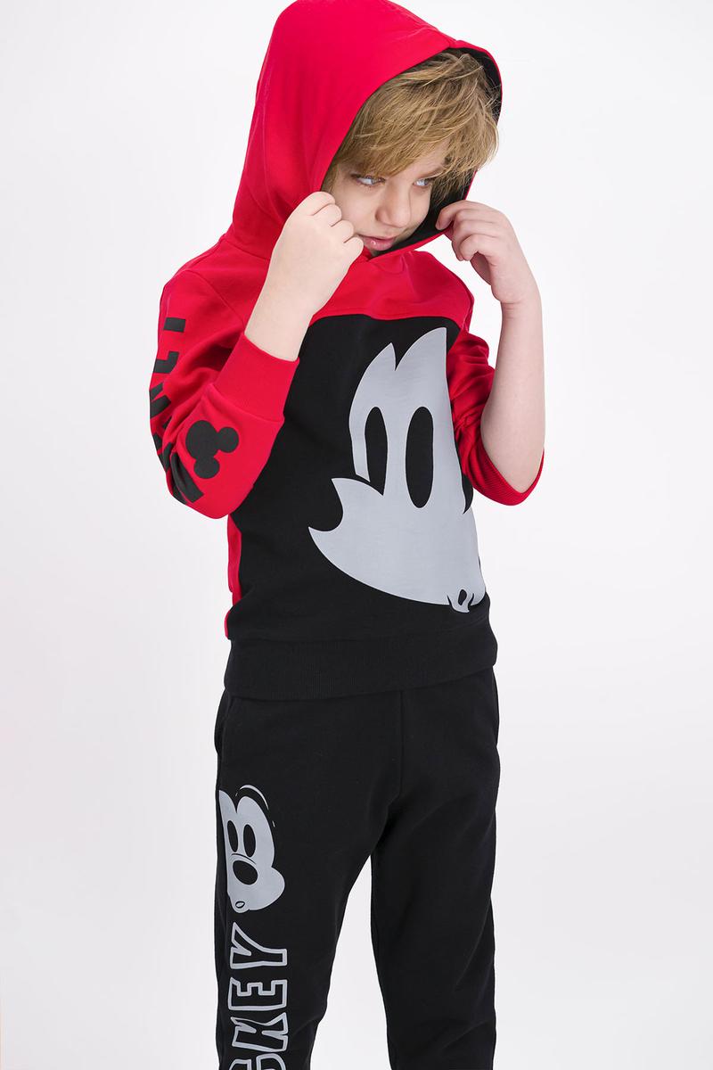 Mickey Mouse - Mickey Mouse Lisanslı Açık Kırmızı Erkek Çocuk Kapüşonlu Eşofman Takımı