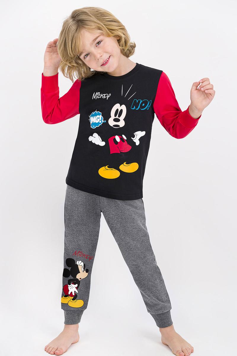 Mickey Mouse - Mickey Mouse Lisanslı Siyah Erkek Çocuk Pijama Takımı
