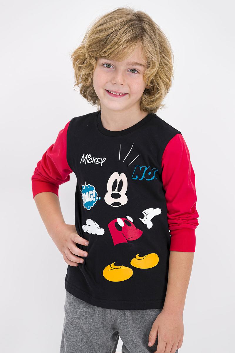 Mickey Mouse - Mickey Mouse Lisanslı Siyah Erkek Çocuk Pijama Takımı (1)