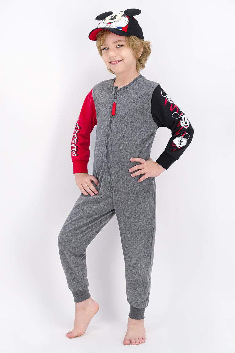 Mickey Mouse - Mickey Mouse Lisanslı Koyu Grimelanj Erkek Çocuk Tulum (1)