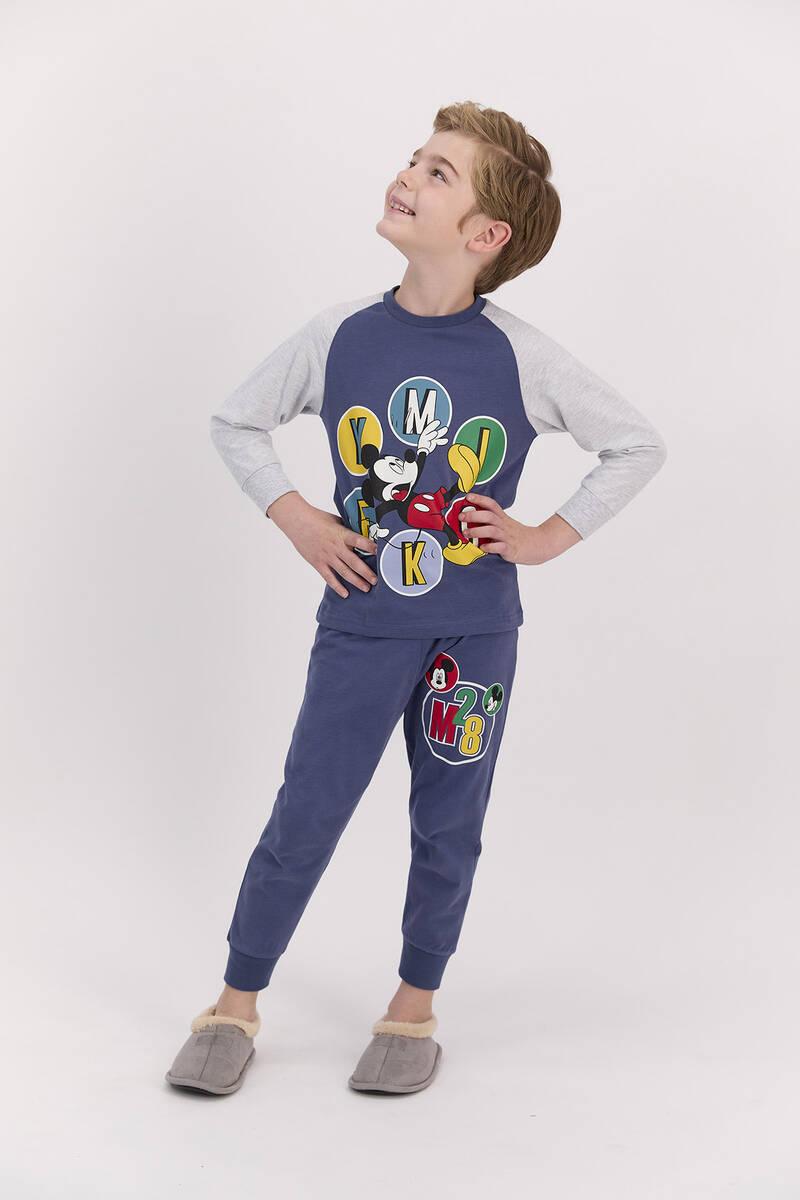 Mickey Mouse - Mickey Mouse Lisanslı Açık İndigo Erkek Pijama Takımı