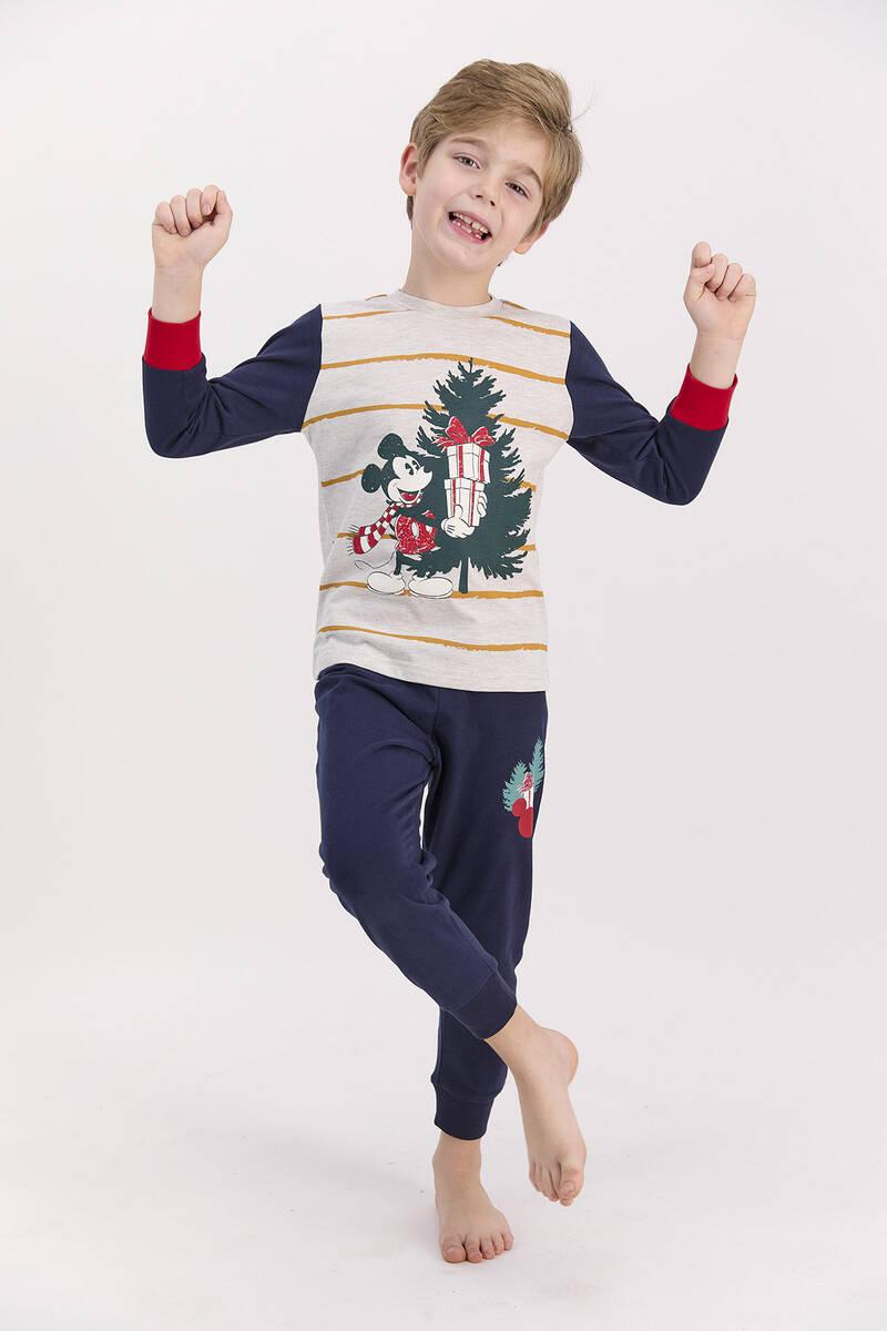 Mickey Mouse - Mickey Mouse Lisanslı Bejmelanj Erkek Çocuk Pijama Takımı (1)