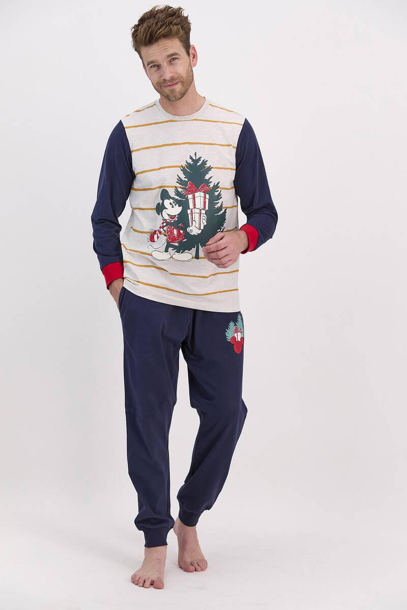 Mickey Mouse - Mickey Mouse Lisanslı Bejmelanj Erkek Pijama Takımı