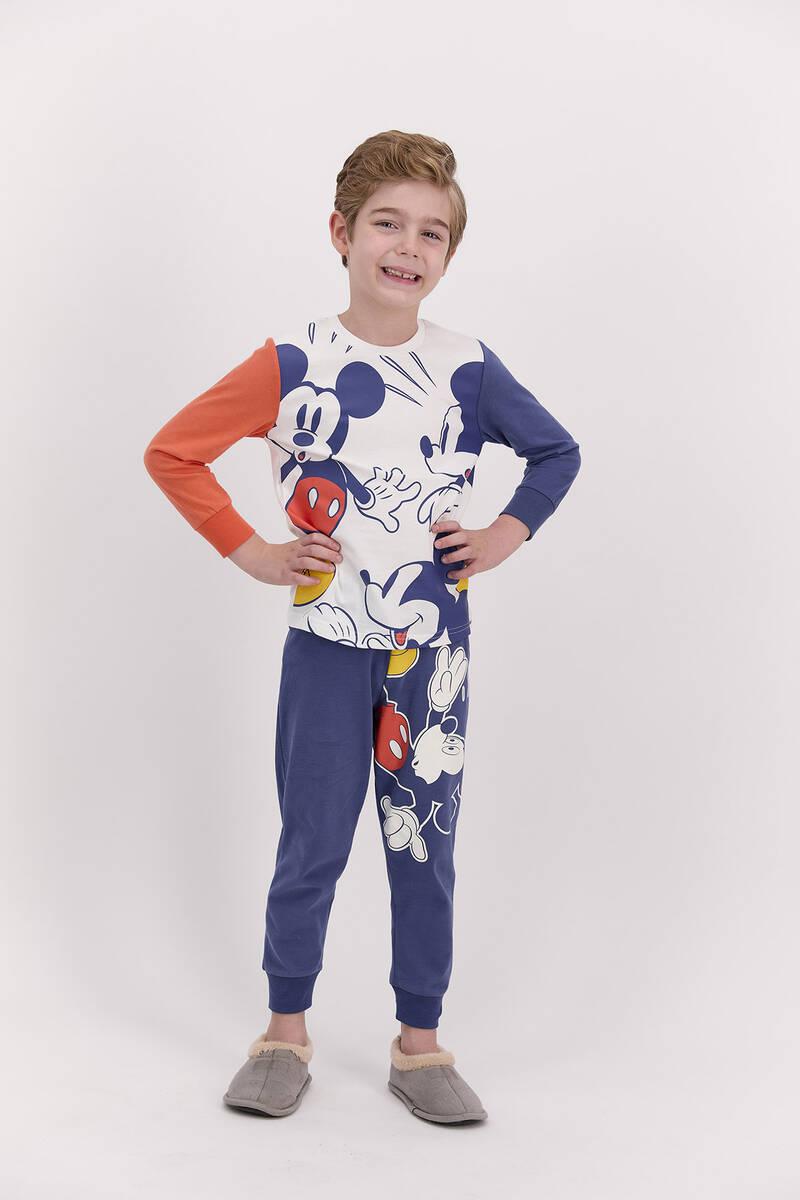 Mickey Mouse - Mickey Mouse Lisanslı İndigo Erkek Pijama Takımı