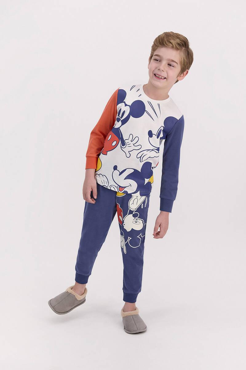 Mickey Mouse - Mickey Mouse Lisanslı İndigo Erkek Pijama Takımı (1)
