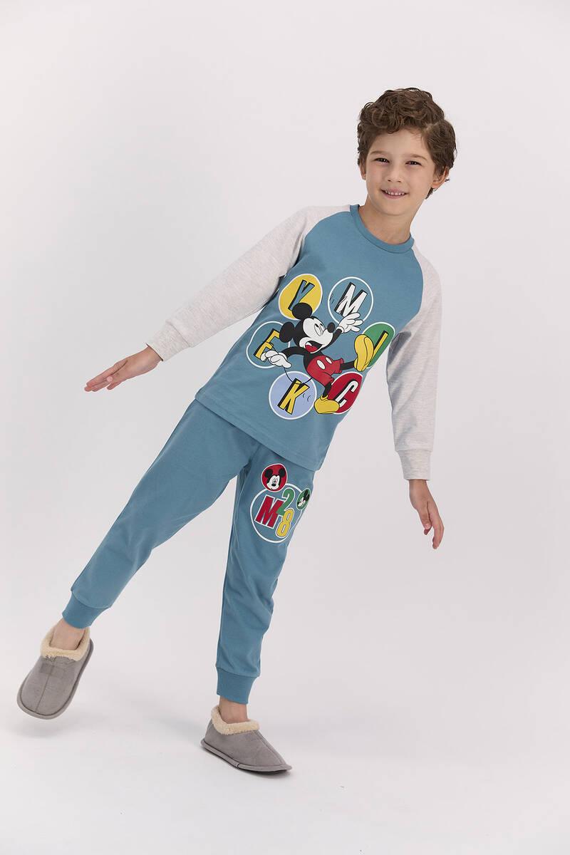 Mickey Mouse - Mickey Mouse Lisanslı Petrol Mavisi Erkek Pijama Takımı