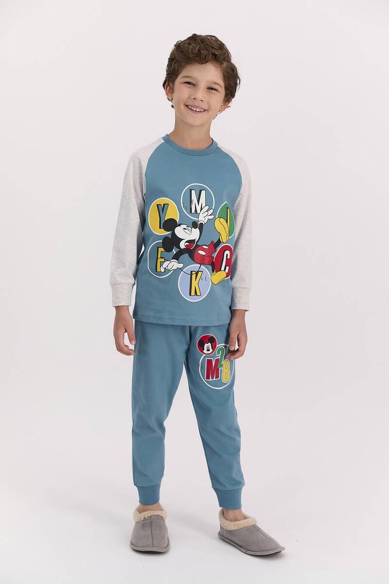 Mickey Mouse - Mickey Mouse Lisanslı Petrol Mavisi Erkek Pijama Takımı (1)