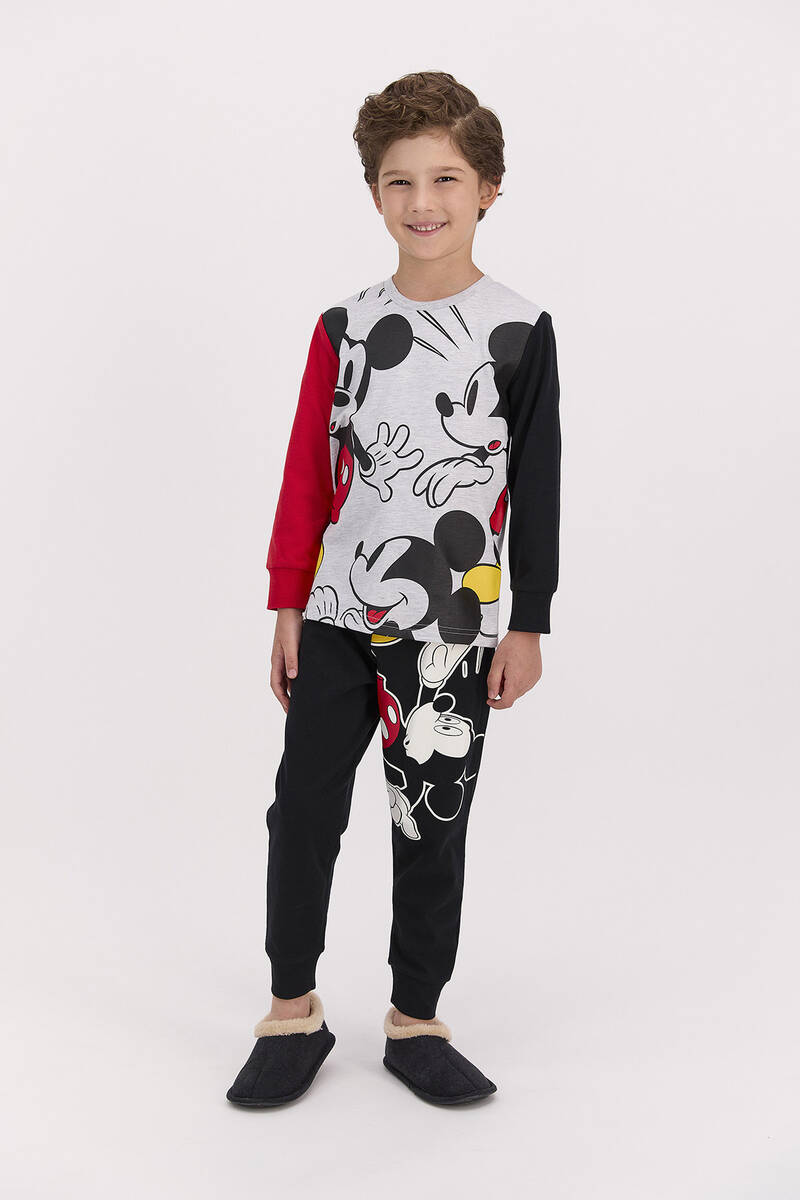 Mickey Mouse - Mickey Mouse Lisanslı Siyah Erkek Pijama Takımı