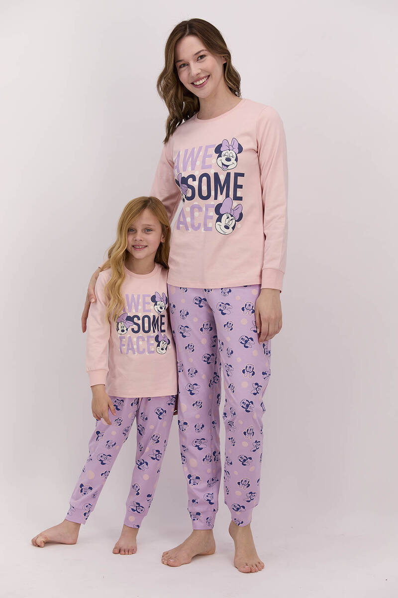 Minnie Mouse - Minnie Mouse Lisanslı Awesome Face Pudra Kadın Pijama Takımı