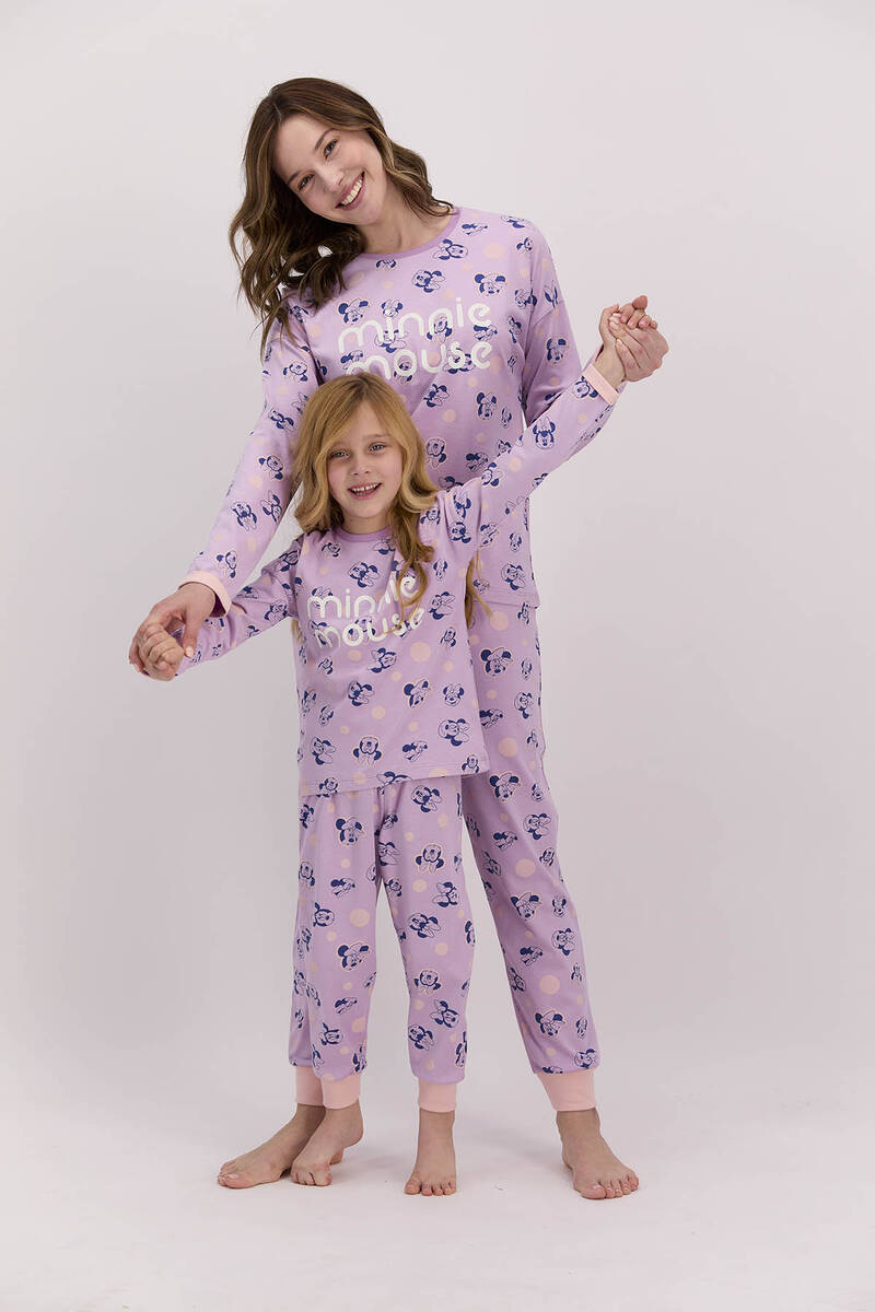 Minnie Mouse - Minnie Mouse Lisanslı Lila Kadın Pijama Takımı