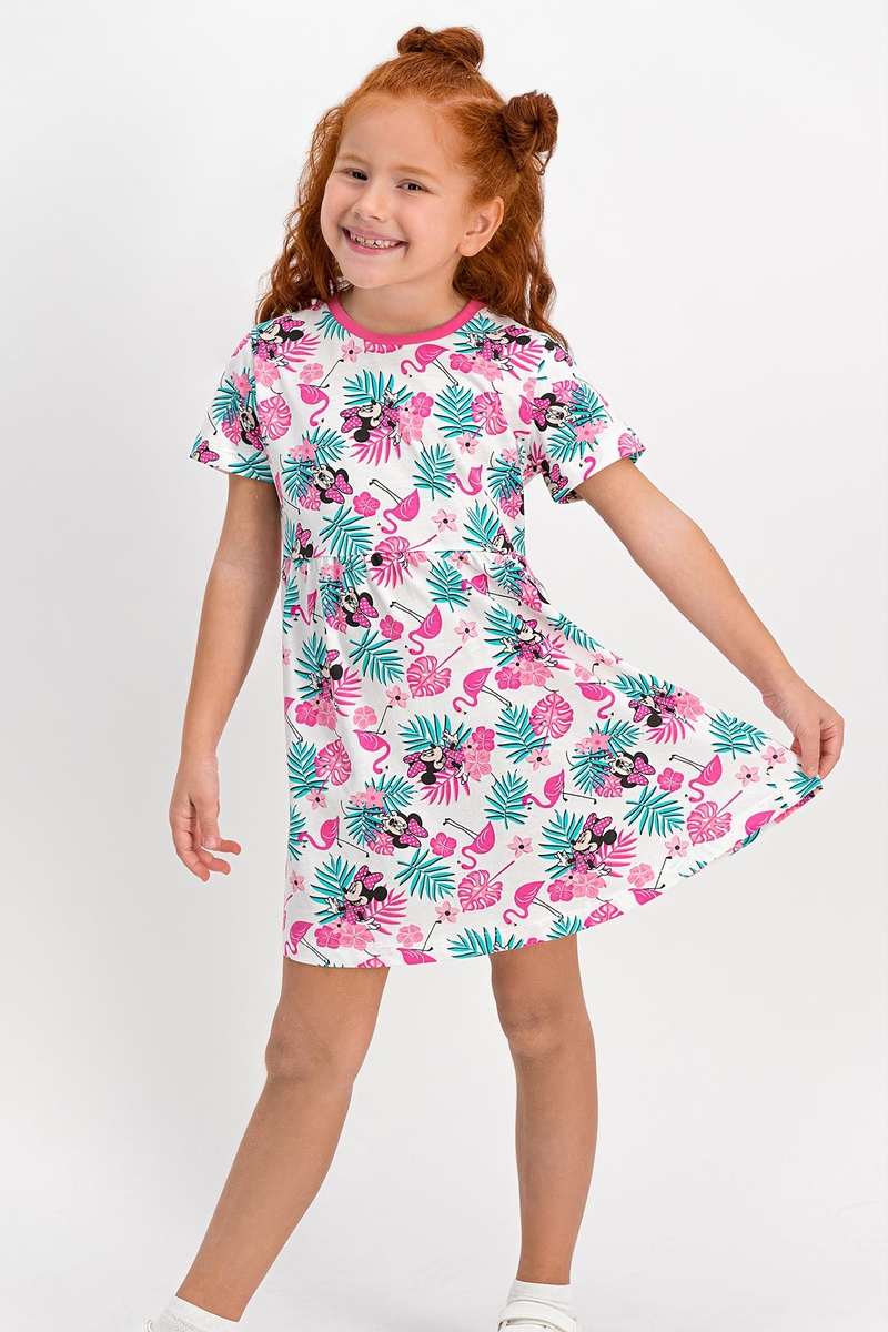 Minnie Mouse - Minnie Mouse Lisanslı Pembe Bisiklet Yaka Kız Çocuk Homewear Elbise