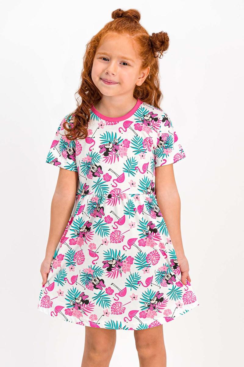Minnie Mouse - Minnie Mouse Lisanslı Pembe Bisiklet Yaka Kız Çocuk Homewear Elbise (1)