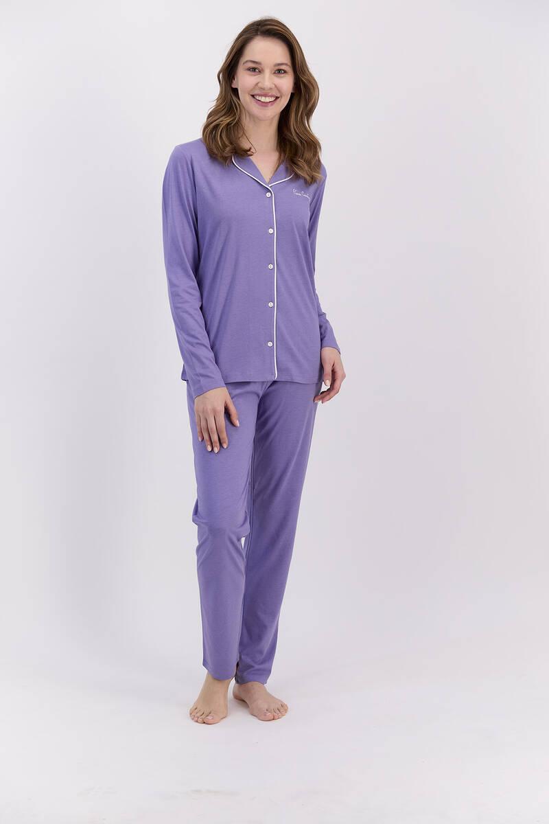 Pierre Cardin - Pierre Cardin Basic Lila Kadın Gömlek Pijama Takımı