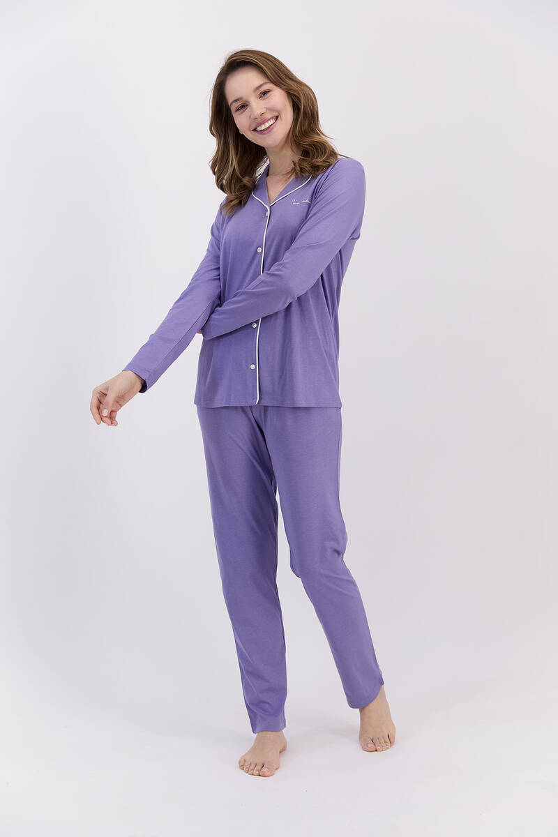 Pierre Cardin - Pierre Cardin Basic Lila Kadın Gömlek Pijama Takımı (1)